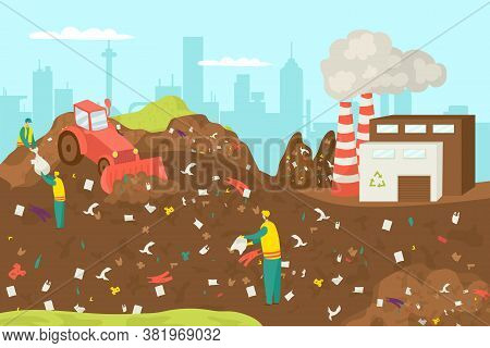 Recycling And Processing Waste Plant Industry, Truck At Garbage Recycle Factory Vector Illustration.