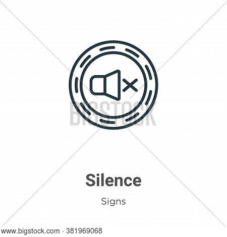 Silence icon isolated on white background from signs collection. Silence icon trendy and modern Sile