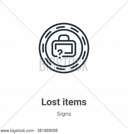 Lost items icon isolated on white background from signs collection. Lost items icon trendy and moder