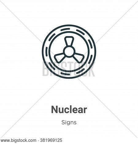 Nuclear icon isolated on white background from signs collection. Nuclear icon trendy and modern Nucl