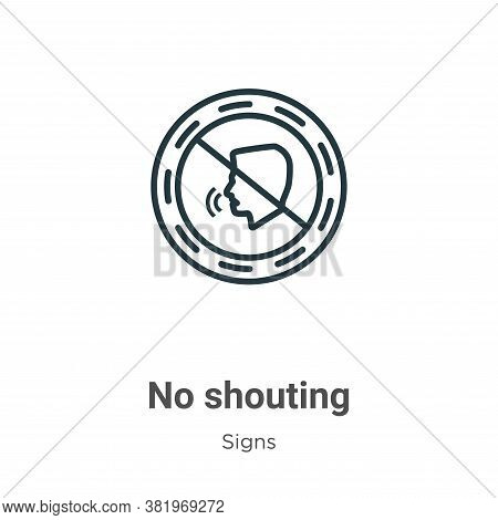 No shouting icon isolated on white background from signs collection. No shouting icon trendy and mod