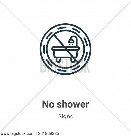 No shower icon isolated on white background from signs collection. No shower icon trendy and modern