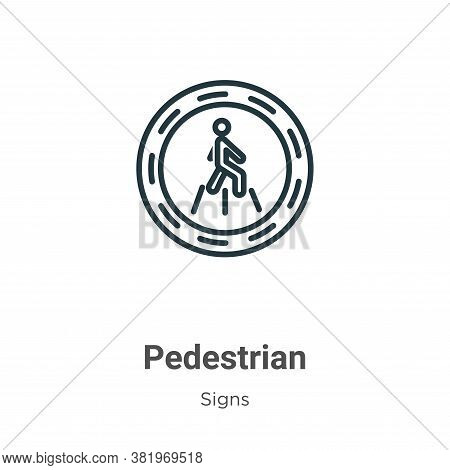 Pedestrian icon isolated on white background from signs collection. Pedestrian icon trendy and moder
