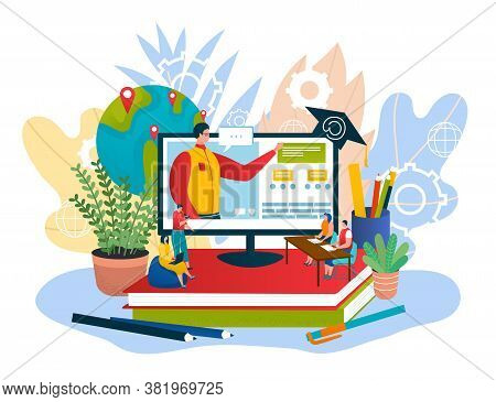 Education University Training Digital Technology, Student At Computer Study Knowledge Online Concept