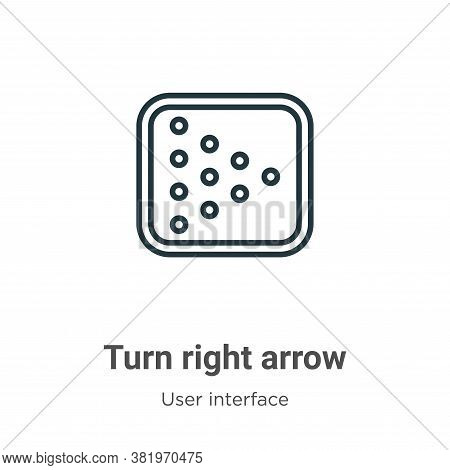 Turn right arrow icon isolated on white background from user interface collection. Turn right arrow