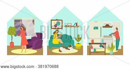 Quarantine Infection Avoid, Woman Stay At Home Concept Vector Illustration. Person At House, Coronav