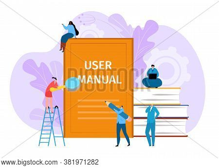 User Manual Guide Book, Vector Illustration. Guidance By Information, Tutorial And Support Advice In