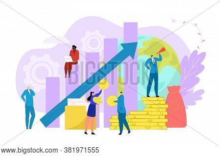 Business Process Work Concept Vector Illustration.finance Growth By Flat Marketing, Achievement Up P