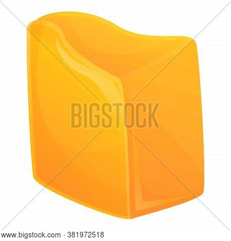 Cheddar Cheese Icon. Cartoon Of Cheddar Cheese Vector Icon For Web Design Isolated On White Backgrou