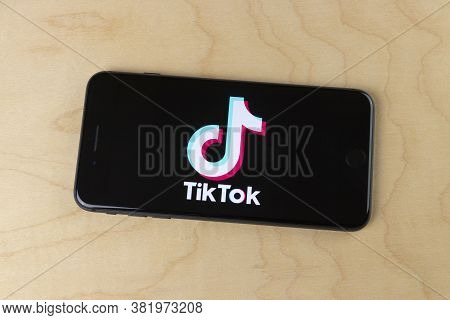 Indianapolis - Circa August 2020: Tiktok Logo On A Smartphone. Tiktok Is One Of The Most Popular App