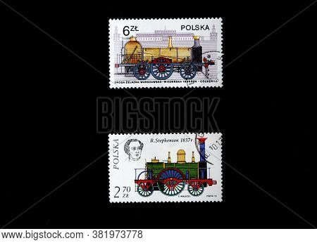 Poland - Circa 1984: Post Stamps Of Steam Locomotives And Train Printed In Poland. Vintage Railway T