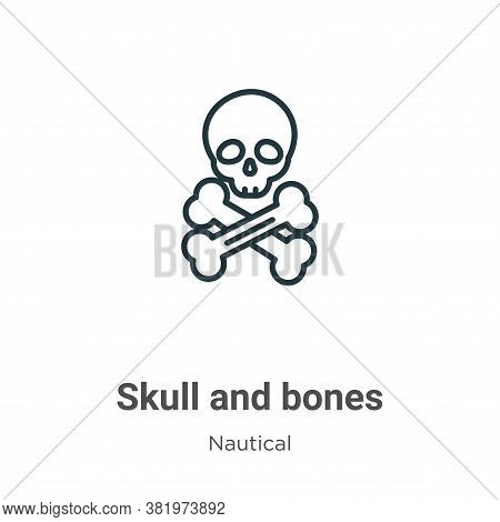 Skull and bones icon isolated on white background from nautical collection. Skull and bones icon tre