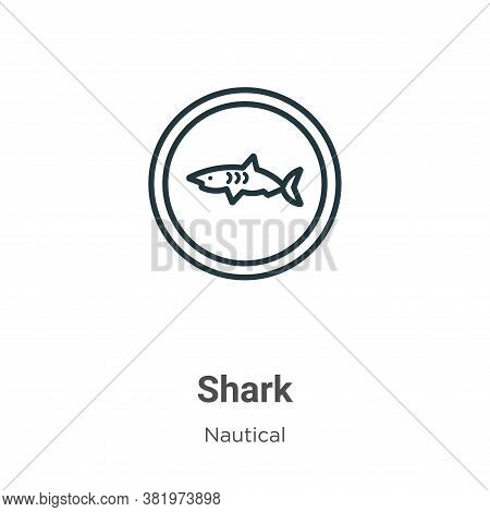 Shark icon isolated on white background from nautical collection. Shark icon trendy and modern Shark