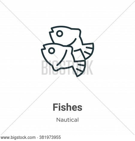 Fishes icon isolated on white background from nautical collection. Fishes icon trendy and modern Fis