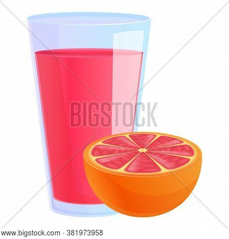 Grapefruit Juice Glass Icon. Cartoon Of Grapefruit Juice Glass Vector Icon For Web Design Isolated O
