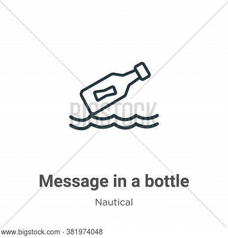 Message in a bottle icon isolated on white background from nautical collection. Message in a bottle