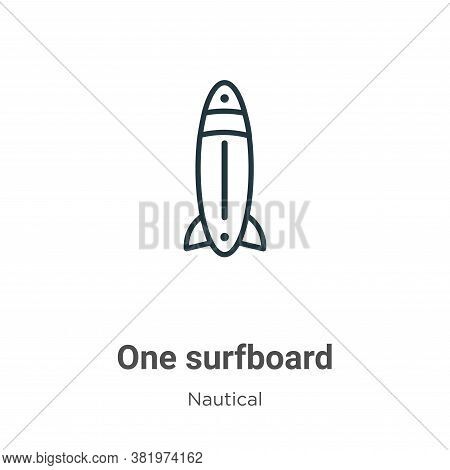 One surfboard icon isolated on white background from nautical collection. One surfboard icon trendy