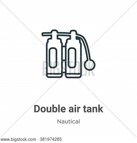 Double air tank icon isolated on white background from nautical collection. Double air tank icon tre