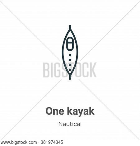 One kayak icon isolated on white background from nautical collection. One kayak icon trendy and mode