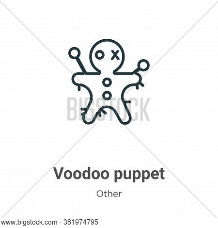 Voodoo puppet icon isolated on white background from other collection. Voodoo puppet icon trendy and