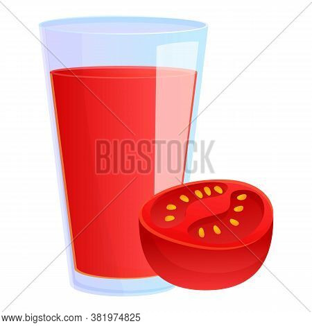 Tomato Juice Glass Icon. Cartoon Of Tomato Juice Glass Vector Icon For Web Design Isolated On White