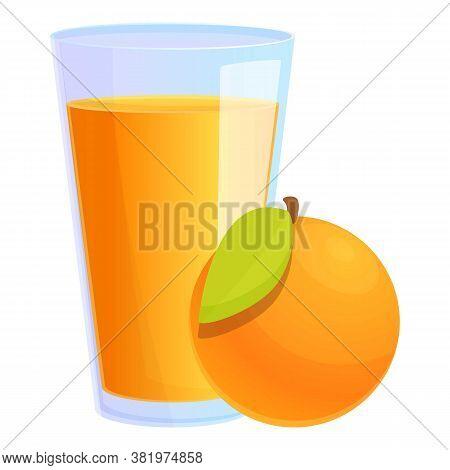 Orange Juice Glass Icon. Cartoon Of Orange Juice Glass Vector Icon For Web Design Isolated On White