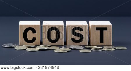Word Cost On Wooden Blocks Near Coins. Costs Optimization Business Concept.