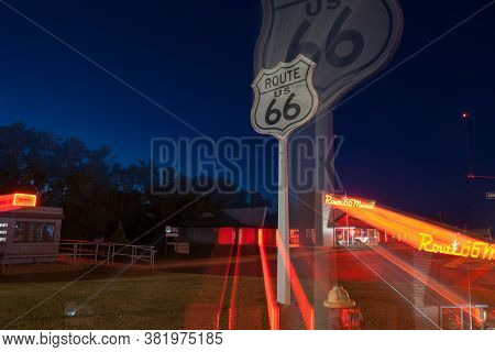 Clinton Usa September 10 2015; Zoom Blur Effect Route 66 Museum Retro Style Bright Red And Orange Ne