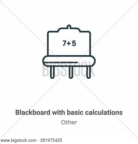 Blackboard with basic calculations icon isolated on white background from other collection. Blackboa