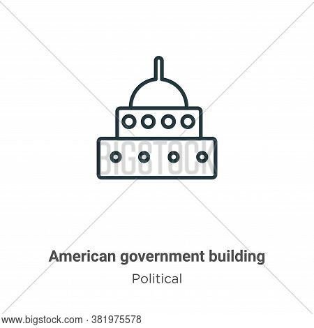 American government building icon isolated on white background from political collection. American g