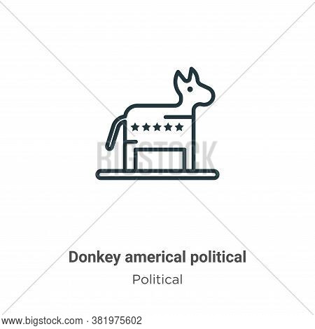 Donkey americal political icon isolated on white background from political collection. Donkey americ