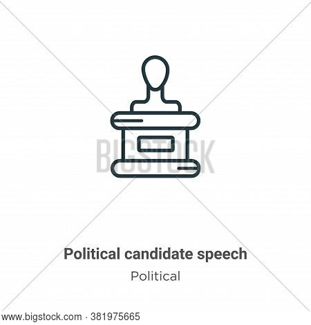 Political candidate speech icon isolated on white background from political collection. Political ca