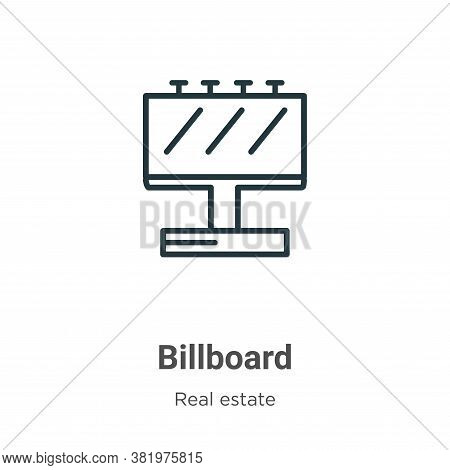 Billboard icon isolated on white background from real estate collection. Billboard icon trendy and m