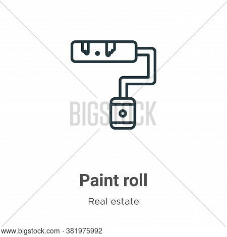 Paint roll icon isolated on white background from real estate collection. Paint roll icon trendy and