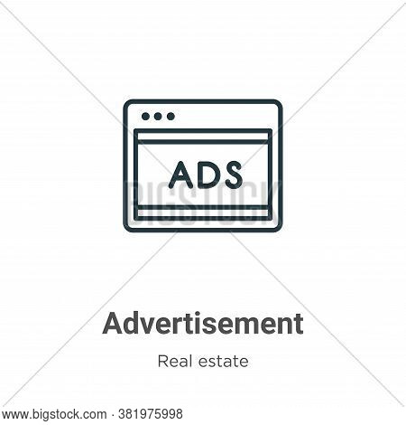 Advertisement icon isolated on white background from real estate collection. Advertisement icon tren
