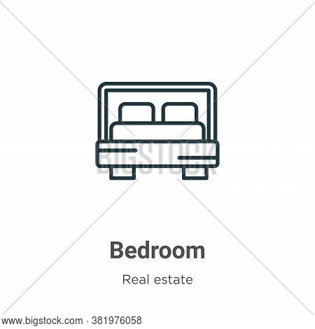 Bedroom icon isolated on white background from real estate collection. Bedroom icon trendy and moder