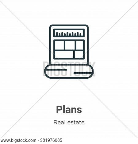 Plans icon isolated on white background from real estate collection. Plans icon trendy and modern Pl