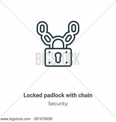 Locked padlock with chain icon isolated on white background from security collection. Locked padlock