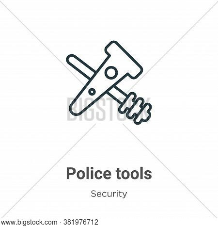 Police tools icon isolated on white background from security collection. Police tools icon trendy an