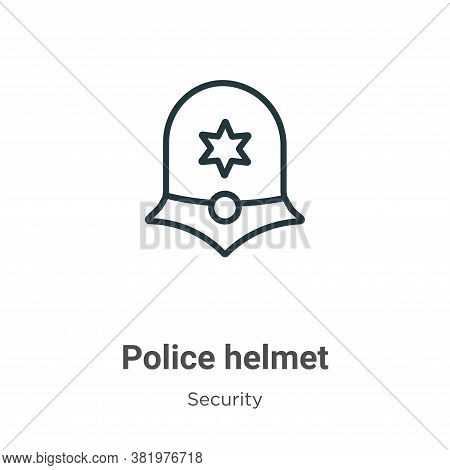 Police helmet icon isolated on white background from security collection. Police helmet icon trendy