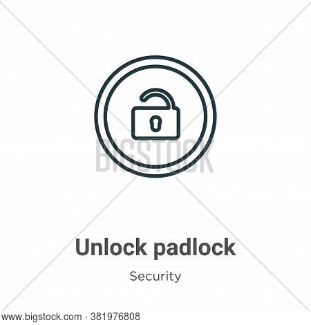 Unlock padlock icon isolated on white background from security collection. Unlock padlock icon trend