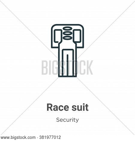 Race suit icon isolated on white background from security collection. Race suit icon trendy and mode