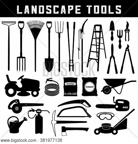 Landscape Tools, Do It Yourself Supplies For Lawn, Garden, Trees And Orchard, Black Icons In Silhoue