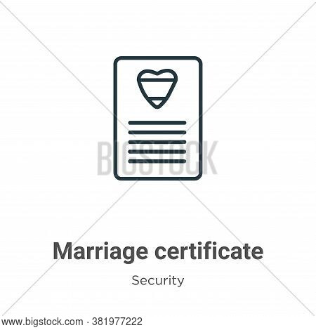 Marriage certificate icon isolated on white background from security collection. Marriage certificat