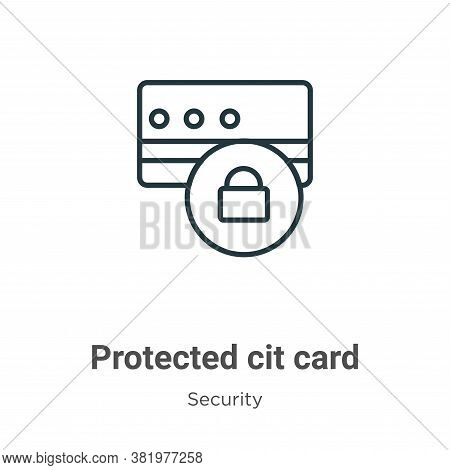 Protected credit card icon isolated on white background from security collection. Protected credit c