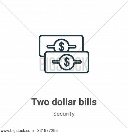 Two dollar bills icon isolated on white background from security collection. Two dollar bills icon t