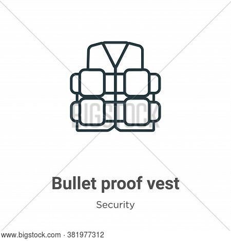 Bullet proof vest icon isolated on white background from security collection. Bullet proof vest icon