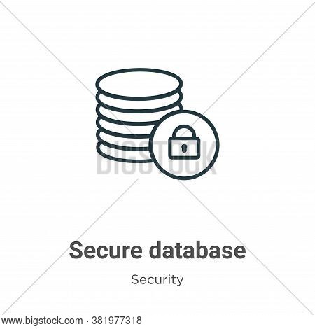 Secure database icon isolated on white background from security collection. Secure database icon tre