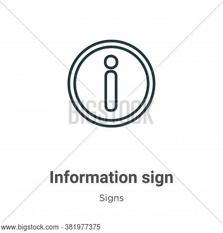 Information sign icon isolated on white background from signs collection. Information sign icon tren