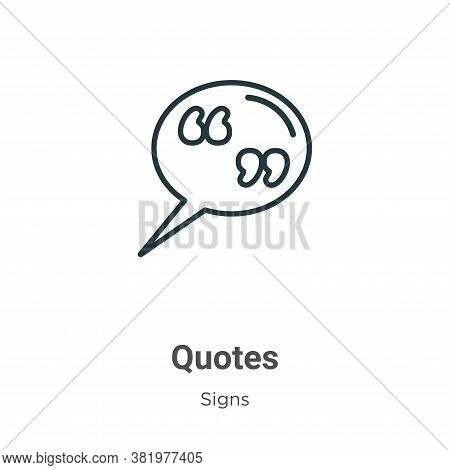 Quotes icon isolated on white background from signs collection. Quotes icon trendy and modern Quotes
